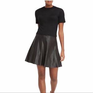 Spanx Faux Leather Flouncy Skirt Very Black NWT
